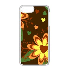 Floral Hearts Brown Green Retro Iphone 8 Plus Seamless Case (white)