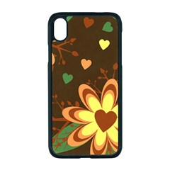 Floral Hearts Brown Green Retro Iphone Xr Seamless Case (black)