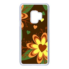 Floral Hearts Brown Green Retro Samsung Galaxy S9 Seamless Case(white)