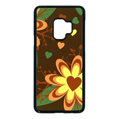 Floral Hearts Brown Green Retro Samsung Galaxy S9 Seamless Case(black)