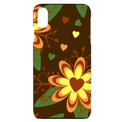 Floral Hearts Brown Green Retro Iphone Xs Max