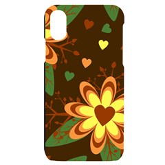 Floral Hearts Brown Green Retro Iphone X/xs Black Uv Print Case