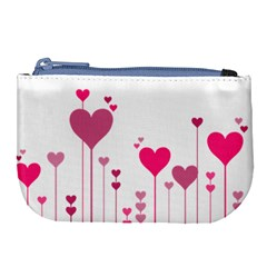 Heart Rosa Love Valentine Pink Large Coin Purse by HermanTelo