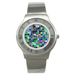 Geometric Background Colorful Stainless Steel Watch