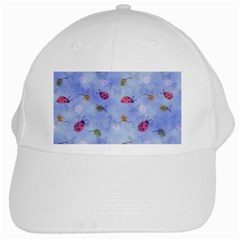 Ladybug Blue Nature White Cap by HermanTelo