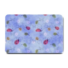 Ladybug Blue Nature Small Doormat  by HermanTelo