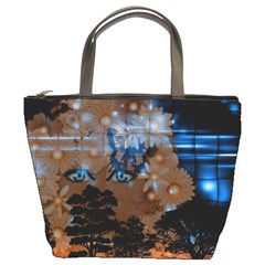 Landscape Woman Magic Evening Bucket Bag by HermanTelo