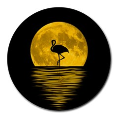 Moon Reflection Flamenco Animal Round Mousepads