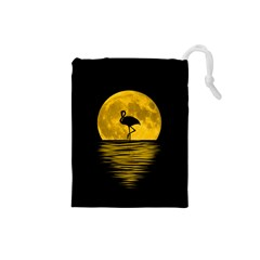 Moon Reflection Flamenco Animal Drawstring Pouch (small)