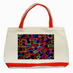 Neon Glow Glowing Light Design Classic Tote Bag (red) by HermanTelo