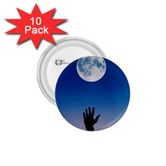 Moon Sky Blue Hand Arm Night 1 75  Buttons (10 Pack)