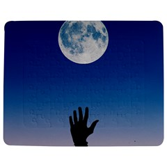 Moon Sky Blue Hand Arm Night Jigsaw Puzzle Photo Stand (rectangular) by HermanTelo