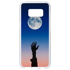 Moon Sky Blue Hand Arm Night Samsung Galaxy S8 White Seamless Case