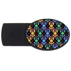 Pattern Background Bright Blue Usb Flash Drive Oval (2 Gb) by HermanTelo