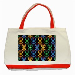 Pattern Background Bright Blue Classic Tote Bag (red) by HermanTelo