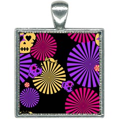 Seamless Halloween Day Dead Square Necklace by HermanTelo