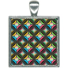 Pattern Pastels Background Square Necklace by HermanTelo
