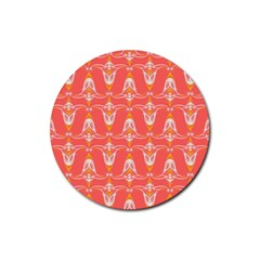 Seamless Pattern Background Red Rubber Coaster (round)