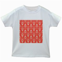 Seamless Pattern Background Red Kids White T Shirts by HermanTelo