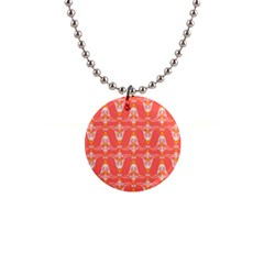 Seamless Pattern Background Red 1  Button Necklace by HermanTelo