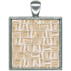 Texture Background Brown Beige Square Necklace by HermanTelo