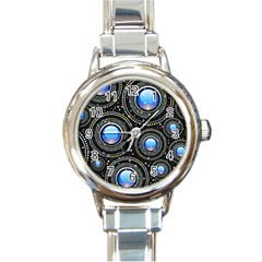 Abstract Glossy Blue Round Italian Charm Watch by HermanTelo