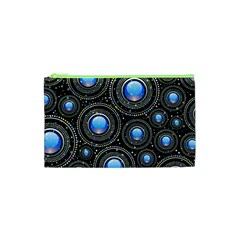 Abstract Glossy Blue Cosmetic Bag (xs)