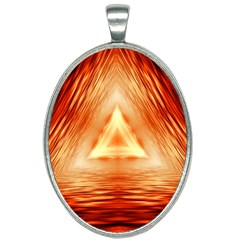 Abstract Orange Triangle Oval Necklace