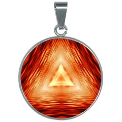 Abstract Orange Triangle 30mm Round Necklace by HermanTelo