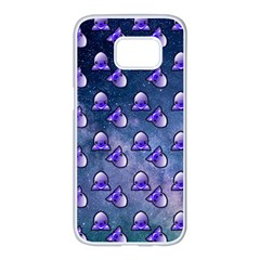 Kawaii Space Rocket Pattern Samsung Galaxy S7 Edge White Seamless Case by snowwhitegirl