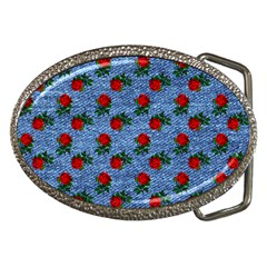Blue Denim And Roses Belt Buckles