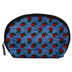 Blue Denim And Roses Accessory Pouch (large) by snowwhitegirl