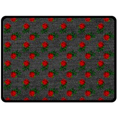 Black Denim And Roses Fleece Blanket (large)