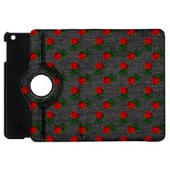 Black Denim And Roses Apple Ipad Mini Flip 360 Case by snowwhitegirl