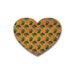 Orange Denim And Roses Rubber Coaster (heart)