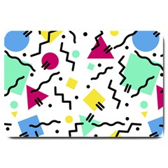 Abstract Squqre Chevron Large Doormat  by AnjaniArt