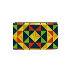 Background Geometric Color Plaid Cosmetic Bag (small)