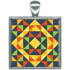 Background Geometric Color Plaid Square Necklace