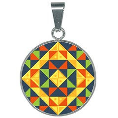 Background Geometric Color Plaid 25mm Round Necklace by Mariart