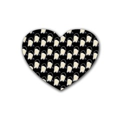 Beanie Boy Pattern Rubber Coaster (heart)  by snowwhitegirl
