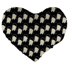 Beanie Boy Pattern Large 19  Premium Heart Shape Cushions by snowwhitegirl