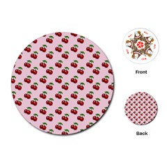 Retro Pink Cherries Playing Cards (round)