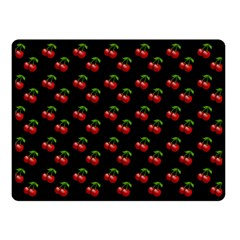 Retro Black Cherries Double Sided Fleece Blanket (small)