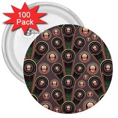 Abstract Pattern Green 3  Buttons (100 Pack)  by HermanTelo