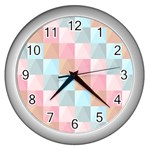 Background Pastel Wall Clock (Silver) Front