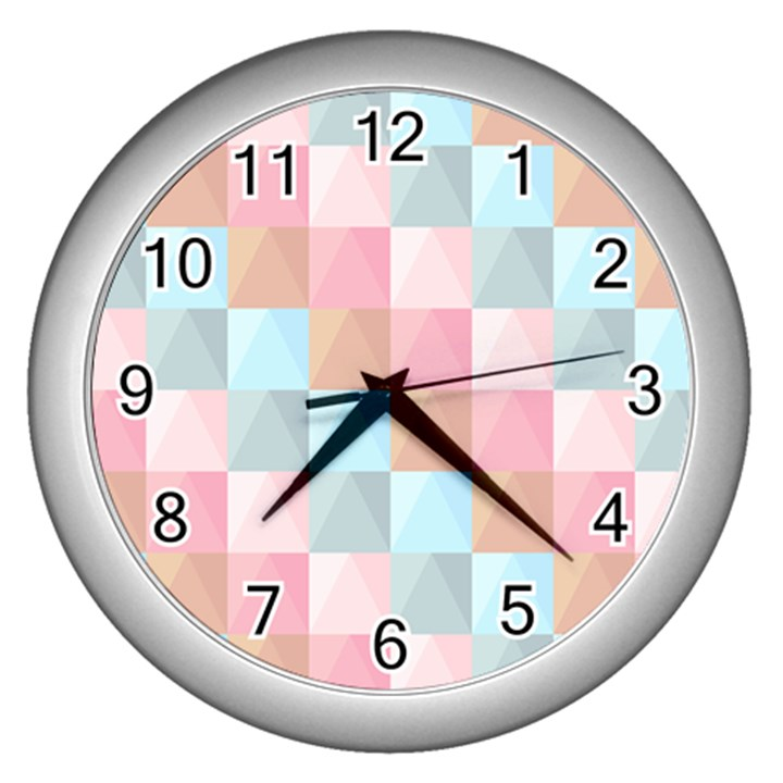Background Pastel Wall Clock (Silver)