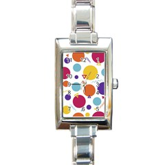 Background Polka Dot Rectangle Italian Charm Watch