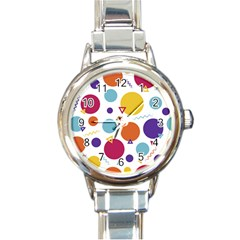 Background Polka Dot Round Italian Charm Watch
