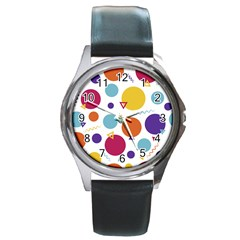 Background Polka Dot Round Metal Watch
