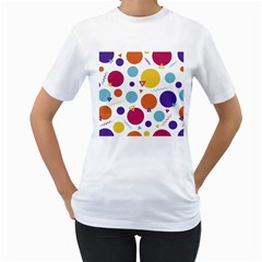 Background Polka Dot Women s T-Shirt (White) (Two Sided)